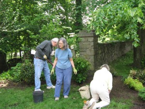 John C, Betty P and Bev C Planting at the Old Stone Meeting House